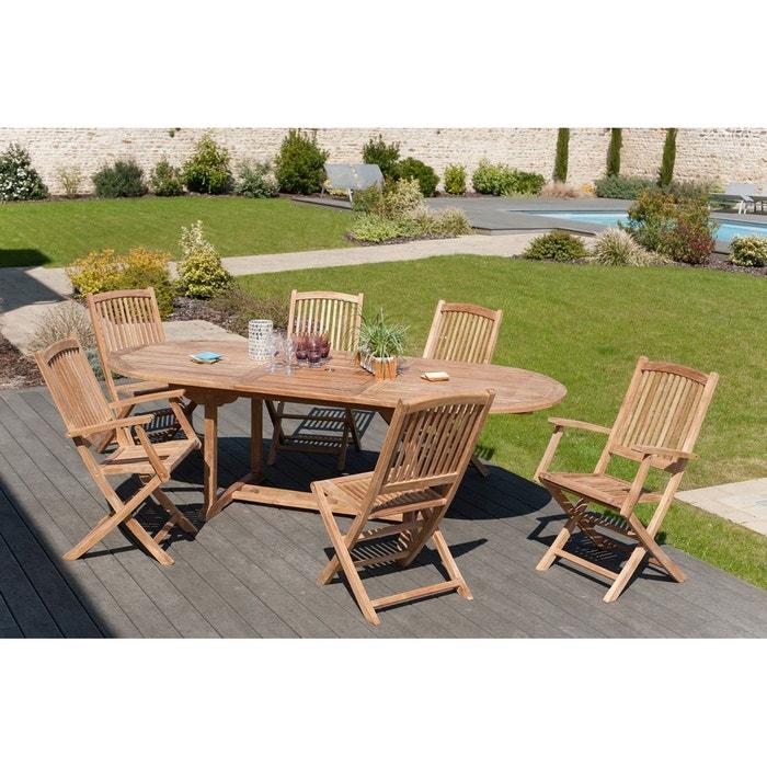 Salon de jardin table d\'extérieur extensible ovale 200/240x100cm 4 chaises  2 fauteuils en bois de teck SUMMER
