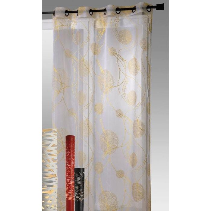 rideau organza imprim motifs g om trique mat et brillant jaune home maison la redoute. Black Bedroom Furniture Sets. Home Design Ideas