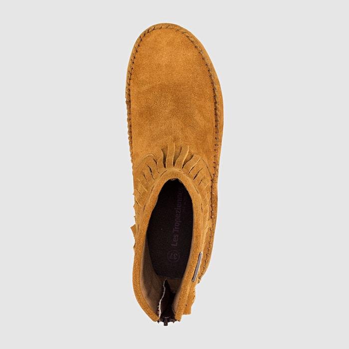 Boots cuir à franges crabe noir Les Tropeziennes Par M Belarbi