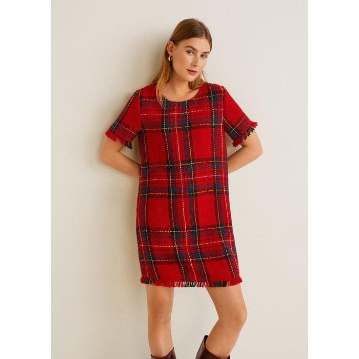 4e8bbc39204 Robe tweed carreaux écossais rouge Mango