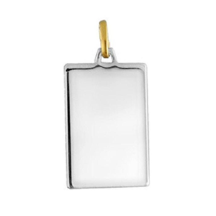Pendentif plaque rectangulaire 21 x 14 mm acier inoxydable & or (0,13gr.) couleur unique So Chic Bijoux   La Redoute