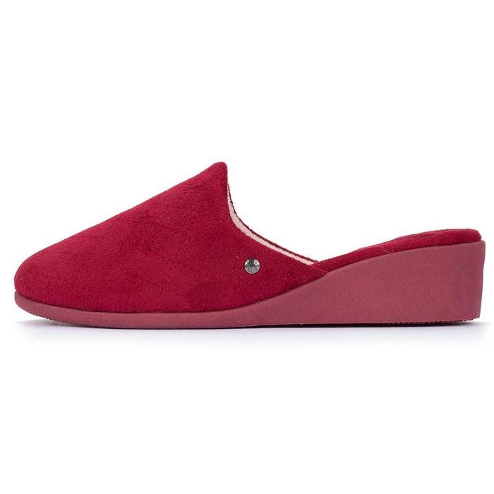 Chaussons mules femme à talon rouge Isotoner