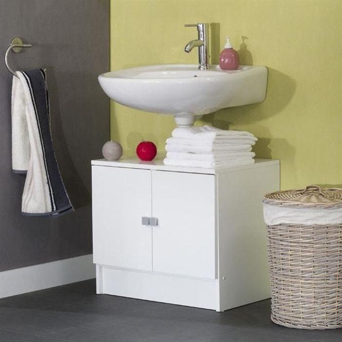 meuble sous lavabo 60cm blanc 2 portes galet philips image 0