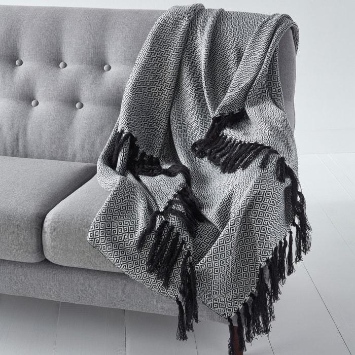 plaid jacquard tricot motifs ethniques ismir noir blanc la redoute interieurs la redoute. Black Bedroom Furniture Sets. Home Design Ideas