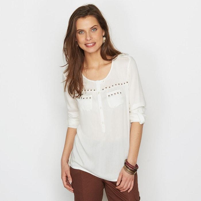 blouse fluide finition sequins ecru anne weyburn en solde la redoute. Black Bedroom Furniture Sets. Home Design Ideas