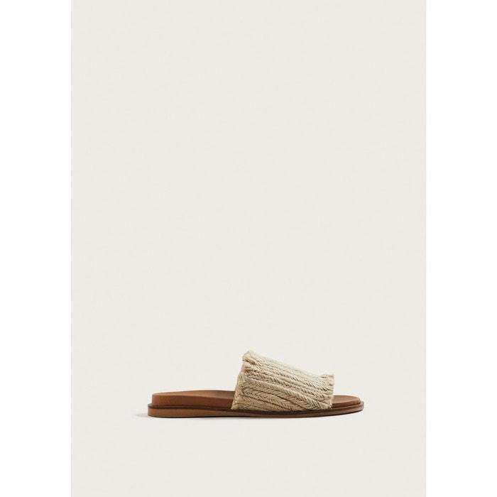 Sandales plates jute beige Violeta By Mango