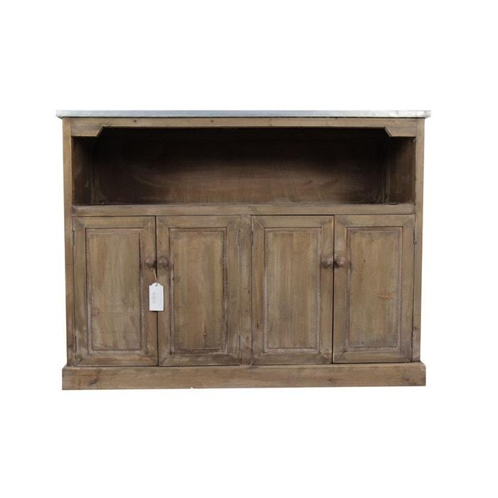 Meuble bas rangement bois plateau zinc 119x47x90cm marron for Autrefois decoration