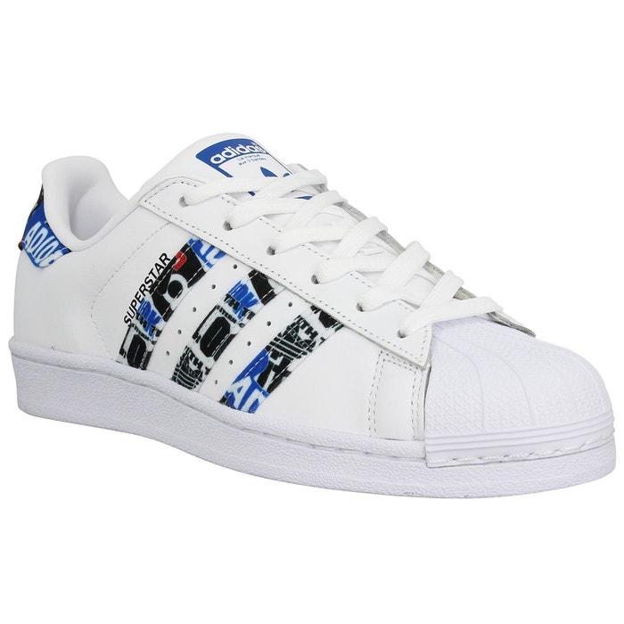 Baskets femme ADIDAS Superstar Cuir  Femme Blanc Bleu adidas