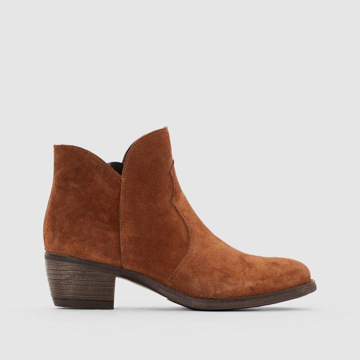 Boots croûte de cuir La Redoute Collections