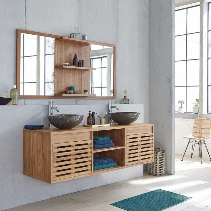 meuble de salle de bain en bois de teck suspendu 160 teck brut bois dessus bois dessous la redoute. Black Bedroom Furniture Sets. Home Design Ideas