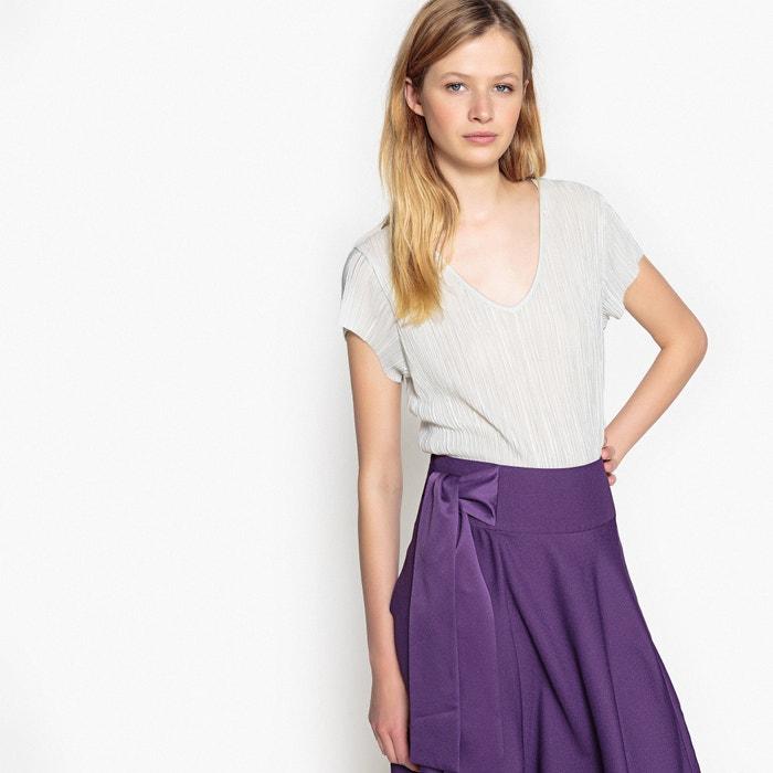T-shirt plissé due materiali, maniche corte  La Redoute Collections image 0