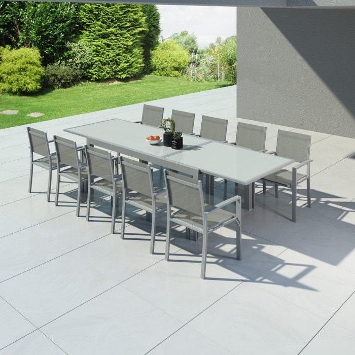 Table de jardin extensible, aluminium, 200/320cm, 10 fauteuils textilène,  HARA XXL