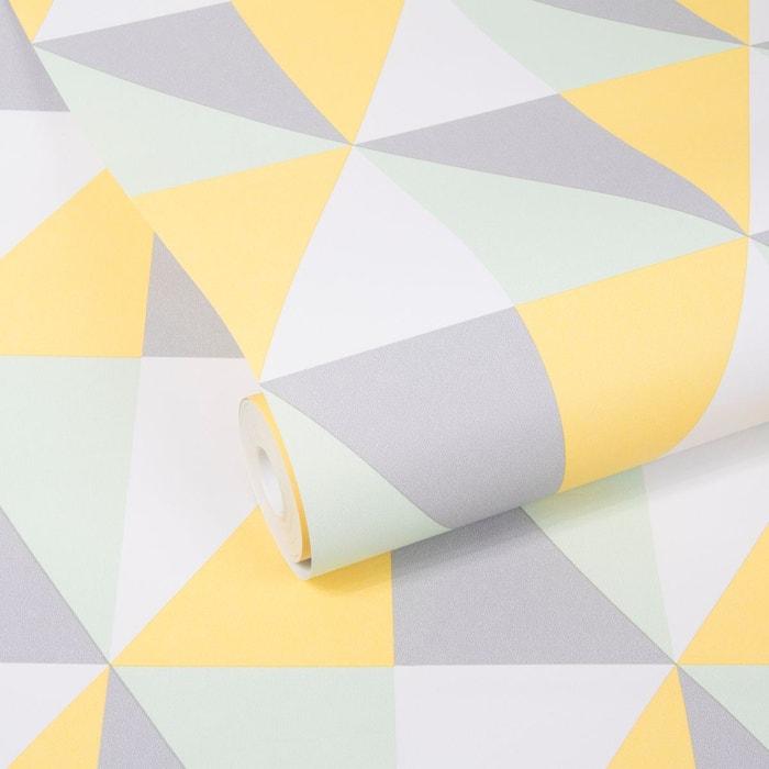 geo triangle menthe gris jaune papier peint intiss 10 m x 52 cm gris graham et brown la redoute. Black Bedroom Furniture Sets. Home Design Ideas