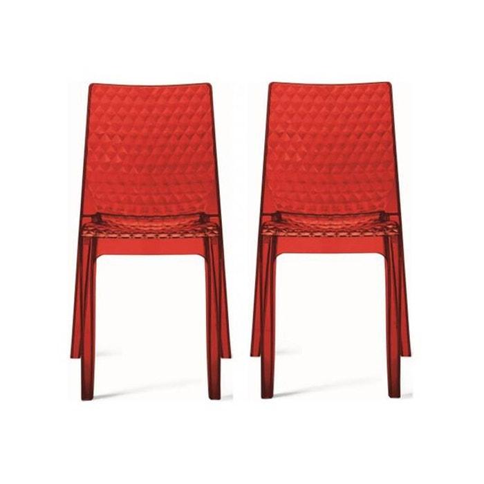 lot de 2 chaises design transparentes rouges delphine. Black Bedroom Furniture Sets. Home Design Ideas