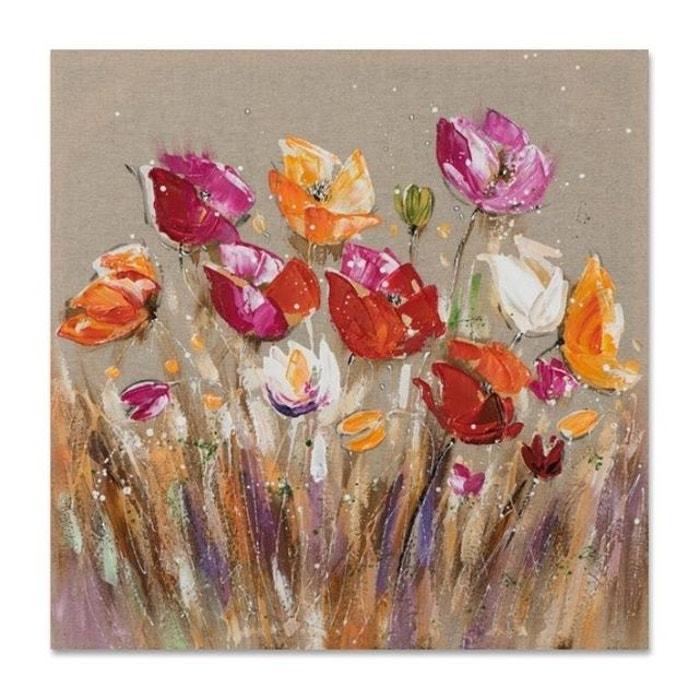 Fleurs 40x40 Peinture Acrylique Carrée Marron Et Rouge Multicolore