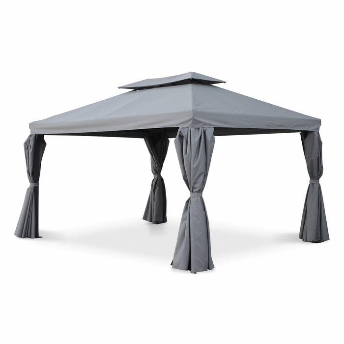 Tente de jardin, pergola aluminium 3x4m divodorum gris, avec rideaux ...