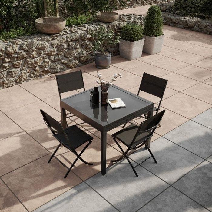 Table de jardin extensible, aluminium, 90/180cm, 4 chaises pliables,  textilène, BORA 4