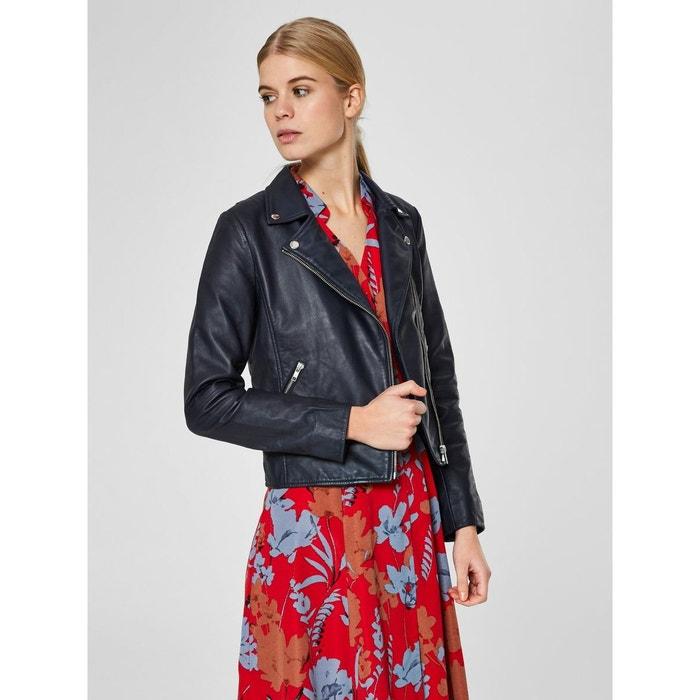 Veste en cuir motard - bleu Selected Femme   La Redoute b035cc05bcab