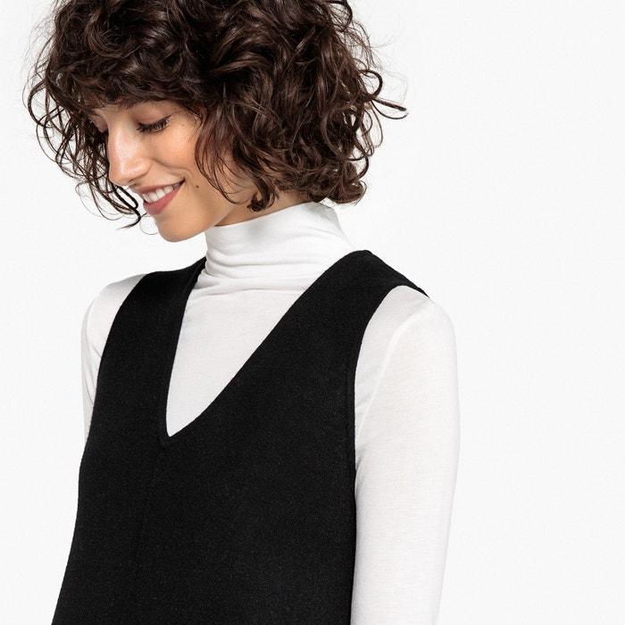 Vestido jersey tipo pichi liso con cuello de pico La Redoute Collections  80ccf210dbf8