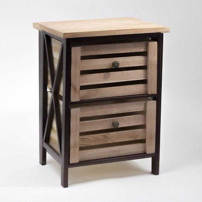 meuble en bois avec structure m tal noire et 2 caisses de rangement bois clair casame la redoute. Black Bedroom Furniture Sets. Home Design Ideas