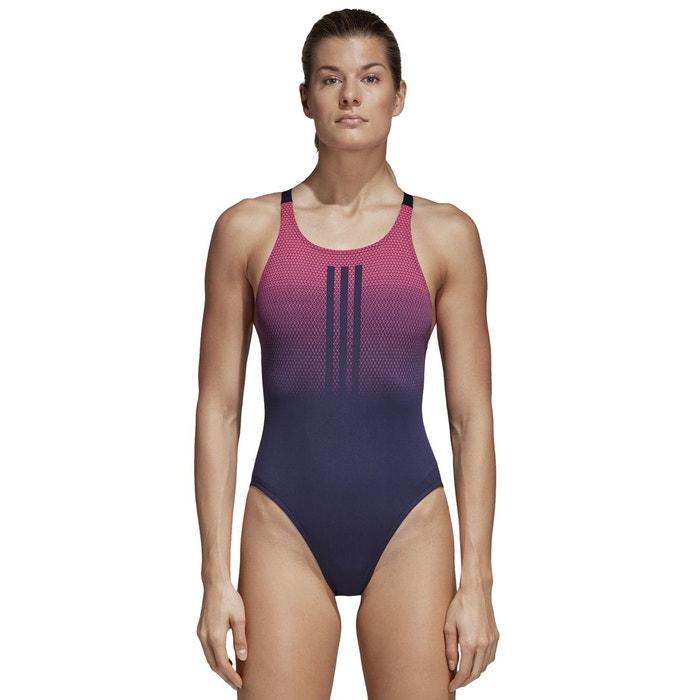 3a992183b296d Maillot de bain 1 pièce piscine imprimé graphique bleu foncé rose Adidas  Performance   La Redoute