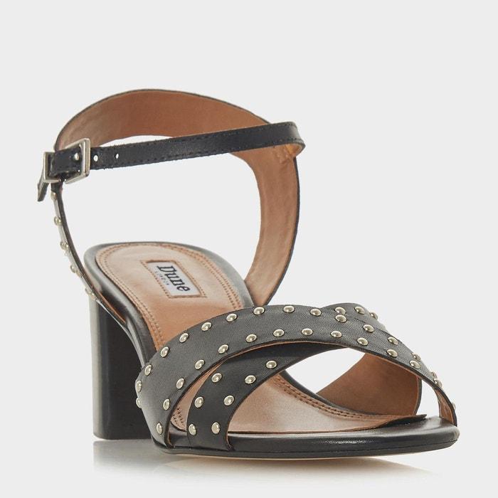 Sandales cloutées à mi-talons - joyride  noir cuir Dune London  La Redoute