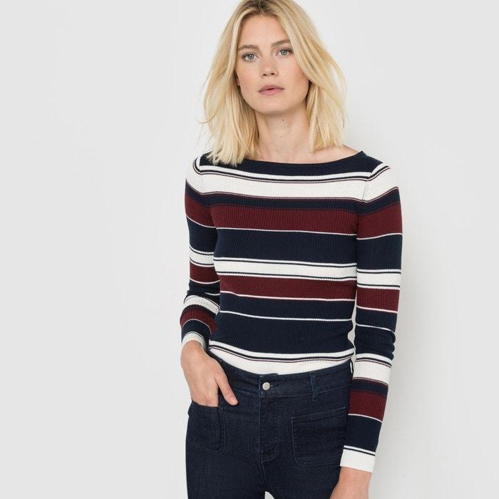 Imagen de Jersey de canalé fino con rayas, de mezcla de lana R essentiel