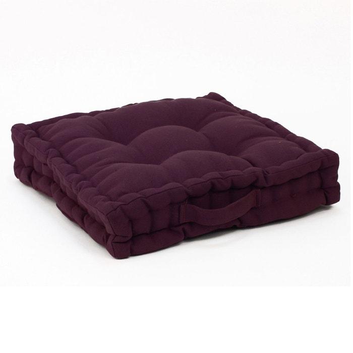 coussin de sol 40 x 40 cm aubergine aubergine atmosphera la redoute. Black Bedroom Furniture Sets. Home Design Ideas