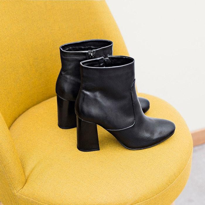 Boots cuir à talon évasé noir La Redoute Collections