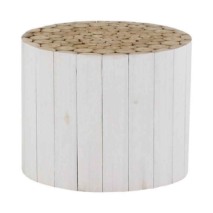 basse ronde blanc Refuge Table en teck teinté wnO80Pk