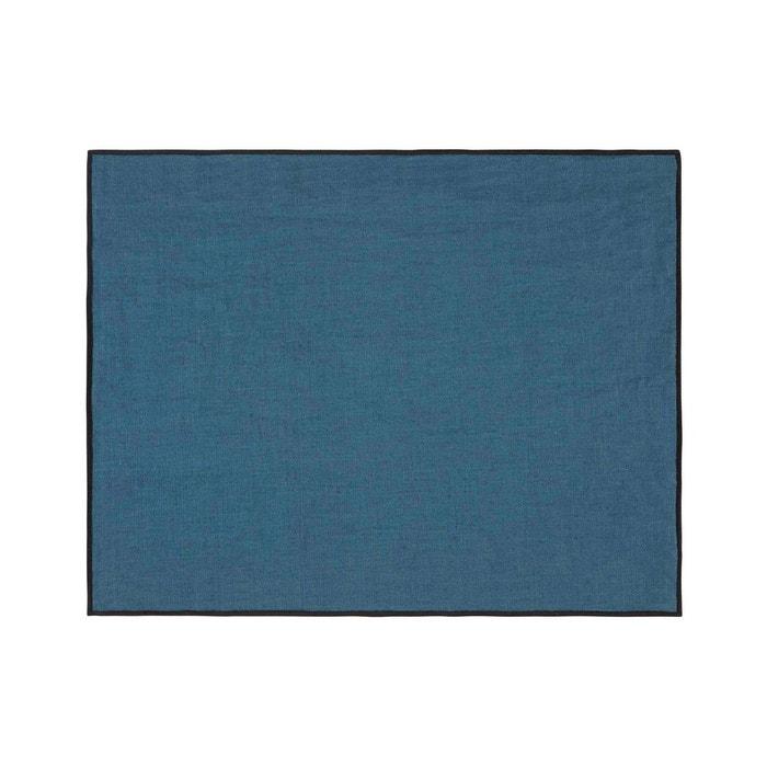 Set De Table Lin Carlina Bleu Vert Et Bourdon Noir Bleu Vert Madura