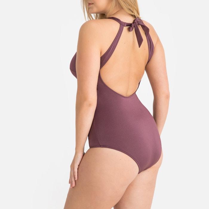 bac5d0b7290 Zip-up plain bodyshaping swimsuit , purple, LA REDOUTE COLLECTIONS PLUS