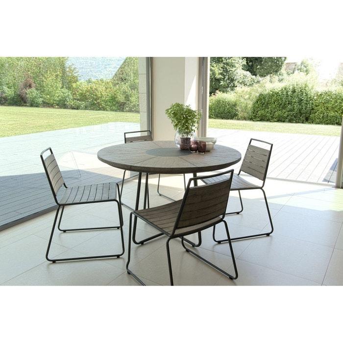 Salon de jardin teck table d120 + 4 chaises empilables detroit ref ...