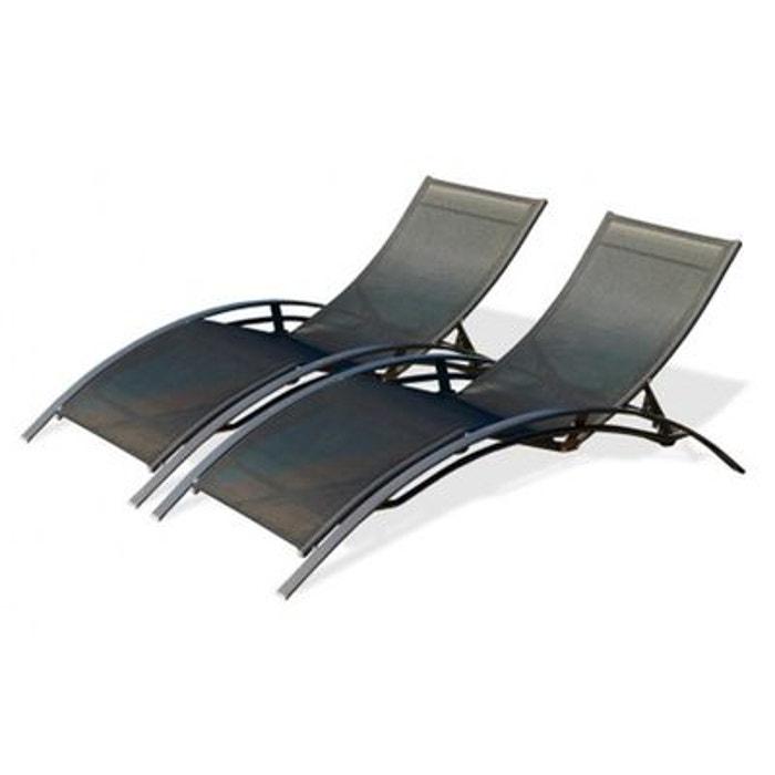 lot de 2 bains de soleil noir multi positions noir le reve. Black Bedroom Furniture Sets. Home Design Ideas
