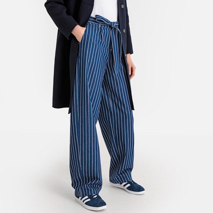 030b18240c Tie-Waist Wide Leg Striped Jeans, Length 32