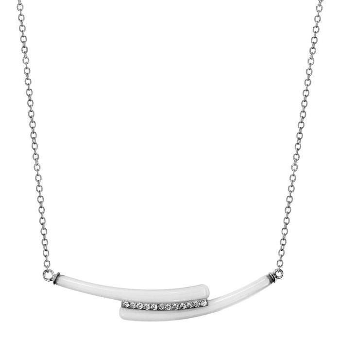 Collier longueur réglable: 42 à 45 cm 2 baguettes céramique blanche oxyde de zirconium blanc argent 925 couleur unique So Chic Bijoux | La Redoute 2018 Rabais y61u5nt8
