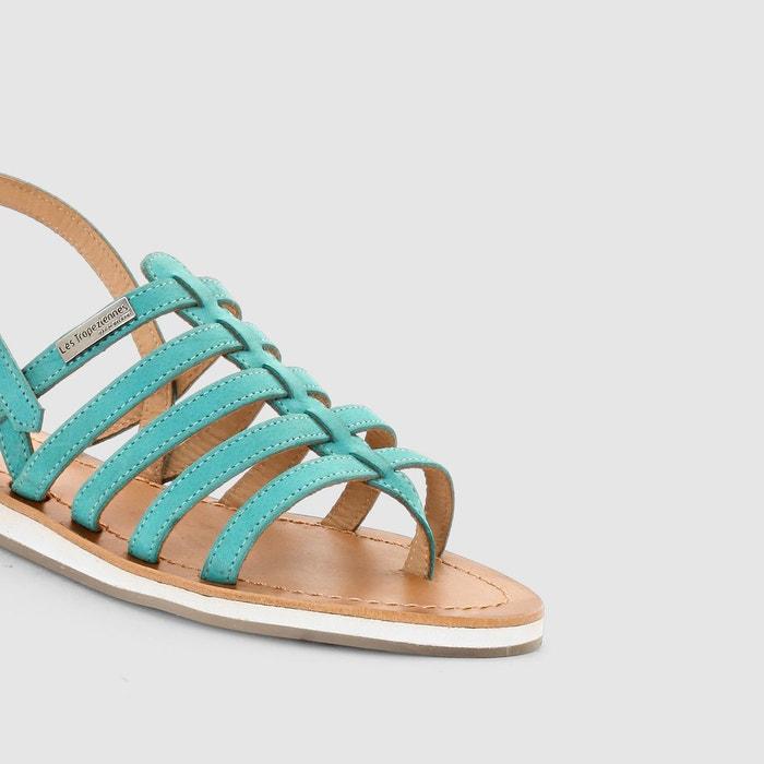 Sandales hippie, talon plat, multibrides, entredoi turquoise Les Tropeziennes Par M Belarbi