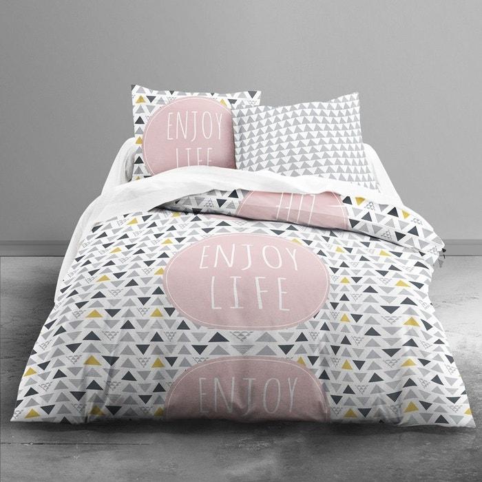 housse de couette 240x260 2 taies enjoy life 100 coton. Black Bedroom Furniture Sets. Home Design Ideas