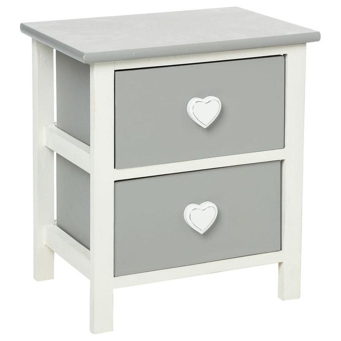chevet coeur leonce 2 tiroirs mobea la redoute mobile. Black Bedroom Furniture Sets. Home Design Ideas