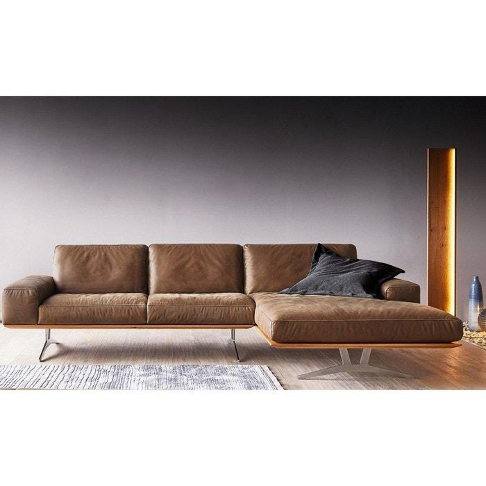 design intemporel 236ed 849c6 Canapé angle cuir design 3 places HONNORE PM brun base chêne