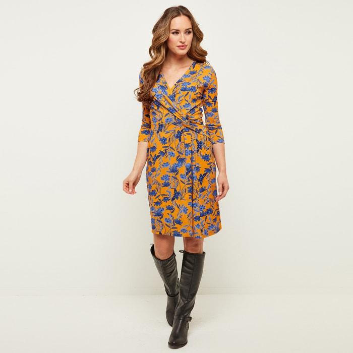 Платье с запахом, рукавами 3/4 и цветочным принтом  JOE BROWNS image 0