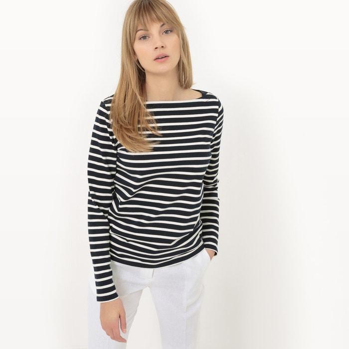 Image T-shirt rayé, coton lourd R essentiel