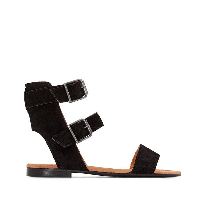 afbeelding Platte sandalen in leer met dubbel bandje R studio