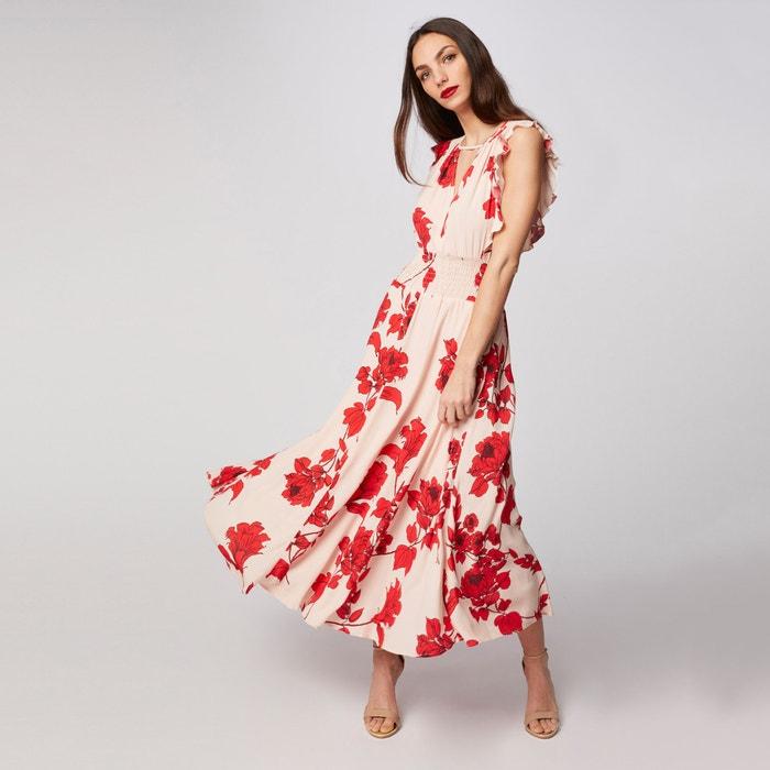 a04c11f879 Vestido largo de flores sin mangas rzana estampado rojo crudo Morgan ...
