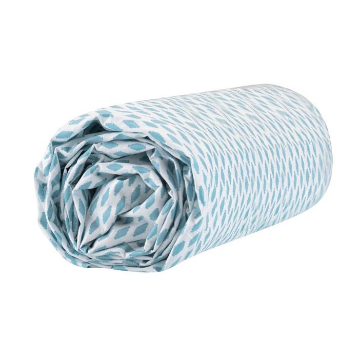 Drap housse imprimé en percale, bon30 blanc/bleu Blanc Cerise