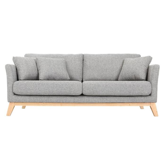 Canapé scandinave 3 places déhoussable pieds bois OSLO MILIBOO