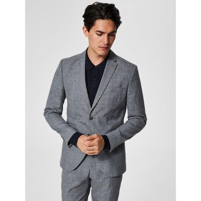 blazer gris grey selected homme la redoute. Black Bedroom Furniture Sets. Home Design Ideas
