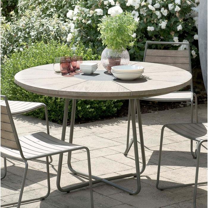 Table de jardin ronde en teck grisé acier et pierre 120cm DETROIT 4  personnes