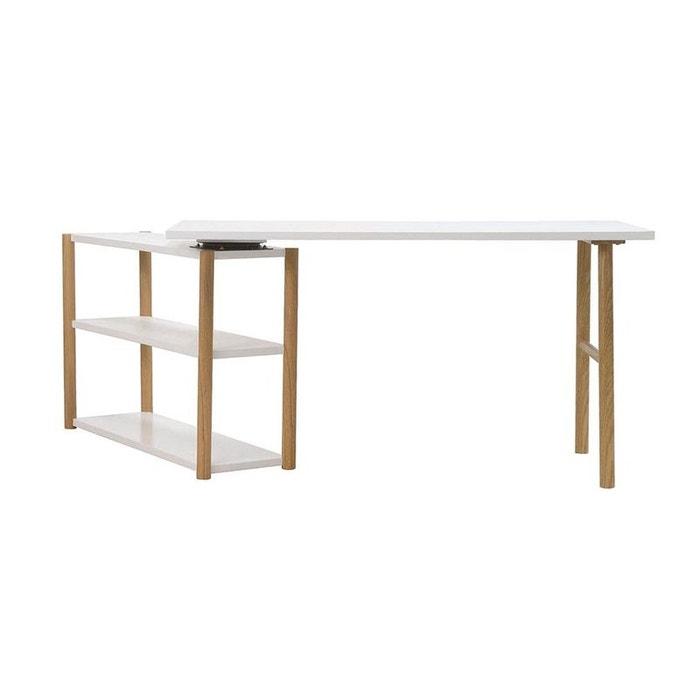 bureau pivotant design scandinave blanc et ch ne gilda. Black Bedroom Furniture Sets. Home Design Ideas