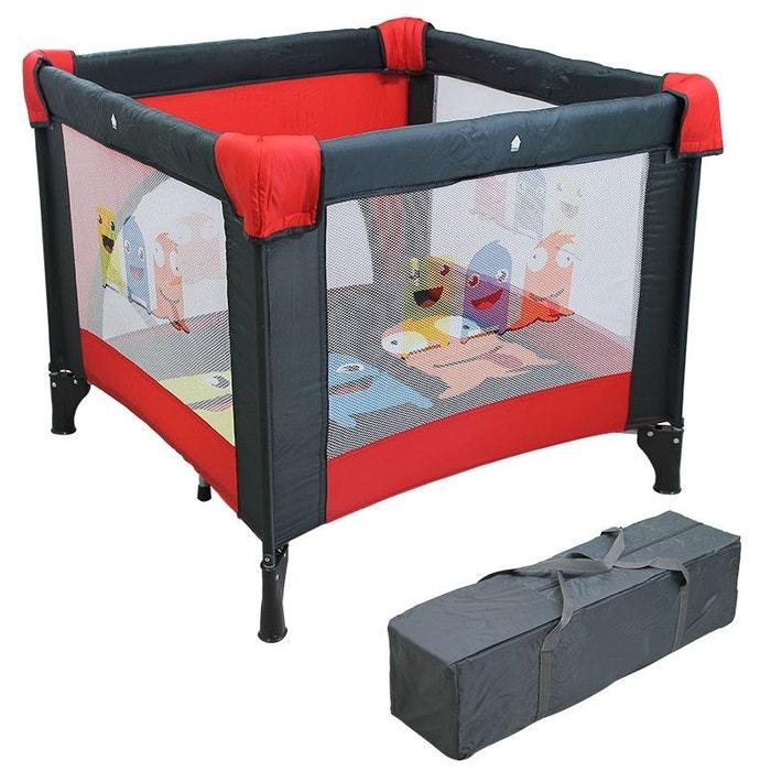 parc b b pliable 90cm x 90cm avec matelas sac de transport rouge rouge monsieur bebe la. Black Bedroom Furniture Sets. Home Design Ideas